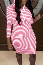 Pink Casual Striped Print Split Joint Hooded Collar Straight Dresses