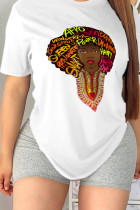 White Casual Sweet Print Split Joint Letter O Neck T-Shirts
