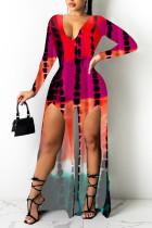 Pink Casual Print Split Joint Slit V Neck Straight Jumpsuits