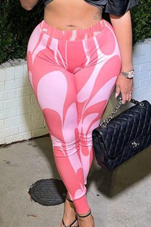 Pink Sexy Print Split Joint Skinny High Waist Pencil Full Print Bottoms