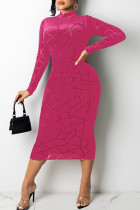 Red Sexy Solid Split Joint See-through Burn-out O Neck A Line Dresses