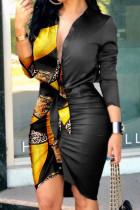 Black Yellow Fashion Street Print Split Joint V Neck Irregular Dresses