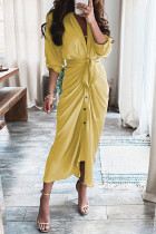 Yellow Fashion Casual Patchwork With Belt V Neck Long Sleeve Dresses