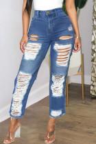 Deep Blue Fashion Casual Patchwork Ripped High Waist Regular Jeans