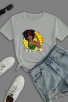 Grey Work Street Print Split Joint O Neck T-Shirts