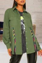 Army Green Fashion Street Solid Bandage Turndown Collar Long Sleeve Denim Jacket