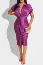 Purple Fashion Casual Solid Fold Turndown Collar Pencil Skirt Dresses