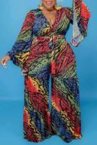 Multicolor Fashion Casual Print Bandage Plus Size Two Pieces