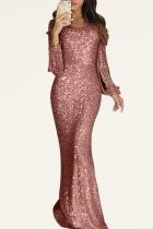 Pink Party Solid Tassel O Neck Trumpet Mermaid Dresses