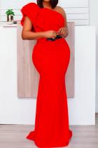 Red Sweet Solid Flounce One Shoulder Trumpet Mermaid Dresses