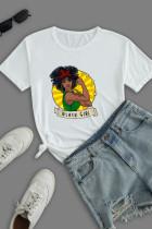 White Work Street Print Split Joint O Neck T-Shirts