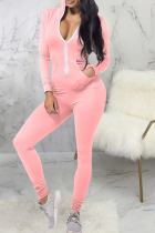 Pink Casual Solid Split Joint Hooded Collar Skinny Jumpsuits