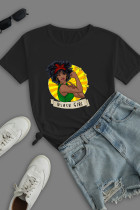 Black Work Street Print Split Joint O Neck T-Shirts