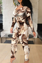 Brown Sexy Print Hollowed Out O Neck Skinny Jumpsuits