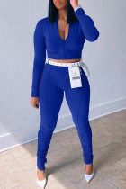 Blue Fashion Casual Solid Without Belt Zipper Collar Long Sleeve Two Pieces