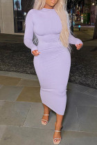Light Purple Fashion Casual Solid Basic O Neck Long Sleeve Dresses