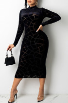 Black Sexy Solid Split Joint See-through Burn-out O Neck A Line Dresses