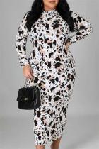 Multicolor Fashion Casual Print Zipper Half A Turtleneck Long Sleeve Plus Size Dresses