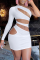 White Sexy Solid Hollowed Out One Shoulder Pencil Skirt Dresses