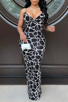 Black Fashion Sexy Print Backless Slit Spaghetti Strap Long Dress