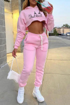 Pink Fashion Casual Print Basic Hooded Collar Long Sleeve Two Pieces
