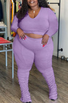 Purple Casual Solid Split Joint Fold O Neck Plus Size Two Pieces