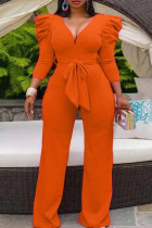 Orange Casual Solid Split Joint With Belt V Neck Straight Jumpsuits(Contain The Belt)