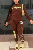 Brown Fashion Casual Letter Print O Neck Long Sleeve Two Pieces