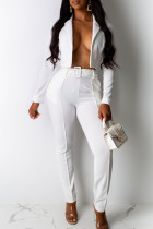 White Casual Solid Split Joint Turn-back Collar Long Sleeve Two Pieces(Contain The Belt)