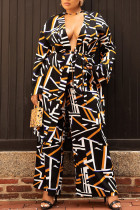 Black Fashion Casual Geometric Print Split Joint With Belt Plus Size Two Pieces(Contain The Belt)
