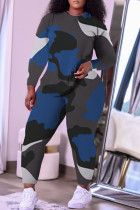 Blue Casual Camouflage Print Split Joint O Neck Plus Size Two Pieces