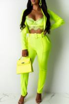 Fluorescent Green Casual Solid Split Joint Turn-back Collar Long Sleeve Two Pieces(Contain The Belt)