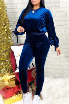 Blue Casual Solid Split Joint Frenulum With Bow O Neck Long Sleeve Two Pieces