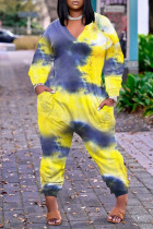 Yellow Fashion Casual Print Tie Dye Basic V Neck Plus Size Jumpsuits