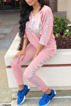 Pink Casual Print Split Joint V Neck Half Sleeve Two Pieces