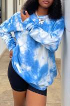 Blue Fashion Casual Tie Dye Printing O Neck Tops