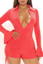 Rose Red Sexy Solid Split Joint Turndown Collar Skinny Jumpsuits
