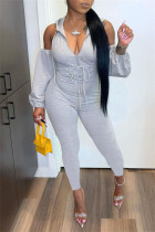 Grey Sexy Casual Solid Bandage Hollowed Out Hooded Collar Skinny Jumpsuits