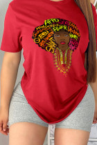 Red Casual Sweet Print Split Joint Letter O Neck T-Shirts
