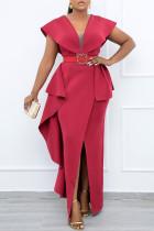 Red Fashion British Style Solid Split Joint V Neck Irregular Dresses