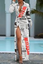 White Fashion Street Print Slit Turndown Collar Irregular Dresses