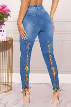 Medium Blue Fashion Casual Solid Bandage High Waist Skinny Jeans