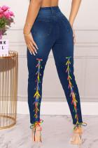 Deep Blue Fashion Casual Solid Bandage High Waist Skinny Jeans
