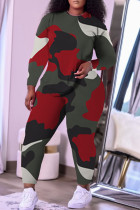 Red Casual Camouflage Print Split Joint O Neck Plus Size Two Pieces