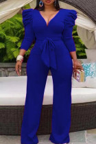 Blue Casual Solid Split Joint With Belt V Neck Straight Jumpsuits(Contain The Belt)