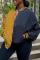 Yellow Casual Patchwork Buckle Mandarin Collar Outerwear