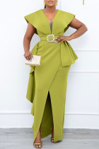 Green Fashion British Style Solid Split Joint V Neck Irregular Dresses