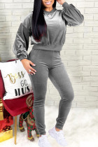 Grey Casual Solid Split Joint Frenulum With Bow O Neck Long Sleeve Two Pieces