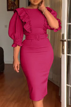 Rose Red Fashion Sexy Solid Split Joint O Neck Pencil Skirt Dresses