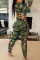 Green Sexy Print Hollowed Out O Neck Skinny Jumpsuits